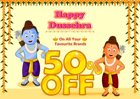 rama: Lord Rama and Laxmana wishing Happy Dussehra in vector