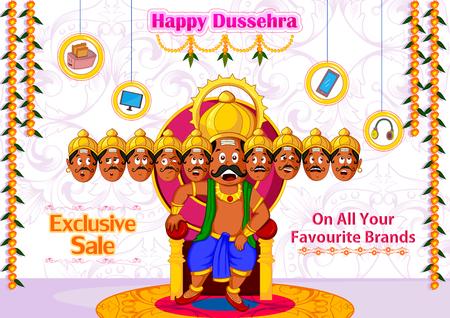 immortal: Ravana offering Happy Dussehra Sale in vector Illustration