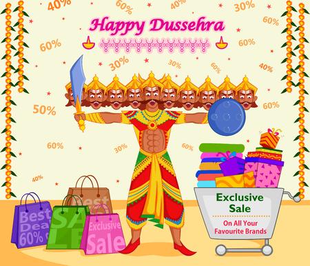 ramayan: Ravana offering Happy Dussehra Sale in vector Illustration