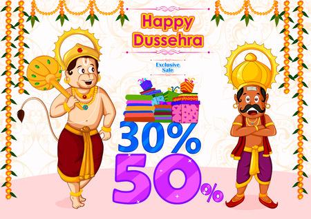 ravana: Ravana offering Happy Dussehra Sale in vector Illustration