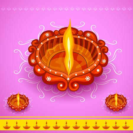diya: easy to edit vector illustration of decorated diya for Happy Diwali holiday background