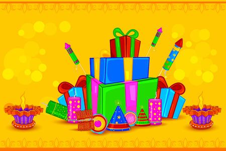 hinduismo: fácil de editar ilustración vectorial de Diya adornado con el regalo para el fondo de fiesta feliz Día de la Independencia Vectores