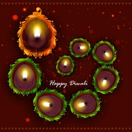 easy to edit illustration of decorated diya for Happy Diwali holiday background Illustration