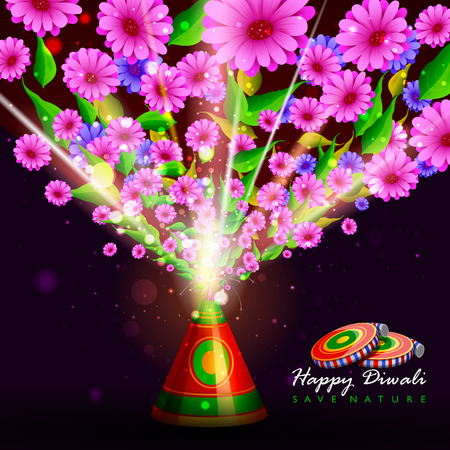 auspicious: easy to edit illustration of flower fire cracker for safe Happy Diwali holiday background