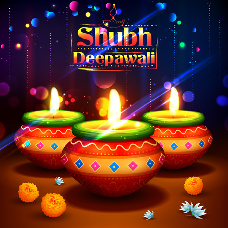 shubh diwali: illustration of Shubh Deepawali Happy Diwali background with watercolor diya for light festival of India