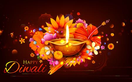 diya: illustration of burning diya on Happy Diwali Holiday background for light festival of India