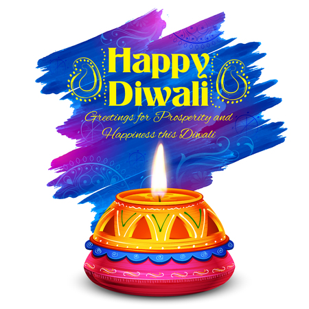 dipawali: illustration of burning watercolor diya on happy Diwali Holiday background for light festival of India Illustration