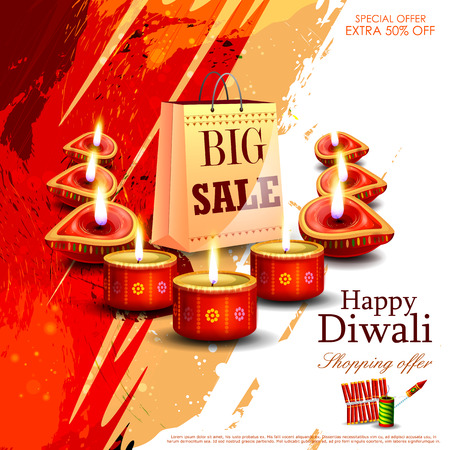 easy to edit illustration of Happy Diwali shopping sale offer with decorated diya for India festival