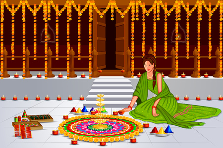 easy to edit illustration of Indian lady with decorated hanging light for Happy Diwali holiday India background