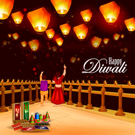 kid pointing: easy to edit illustration of Kid  pointing sky lamp with cracker for Happy Diwali holiday background