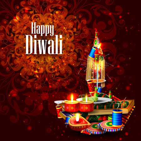 rocket bomb: easy to edit illustration of decorated diya with cracker for Happy Diwali holiday background