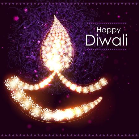 diya: easy to edit illustration of decorated diya for Happy Diwali background