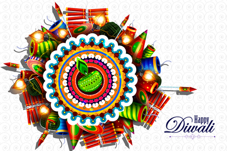 easy to edit illustration of decorated diya with cracker for Happy Diwali holiday background