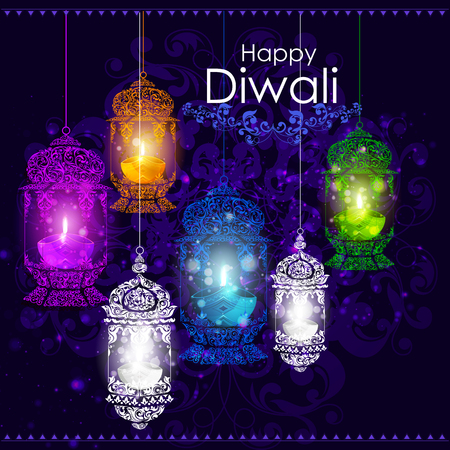 religion ritual: easy to edit illustration of decorated diya with tuni bulb for Happy Diwali background Illustration