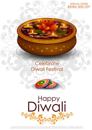 diya: easy to edit illustration of decorated diya for Happy Diwali holiday background Illustration