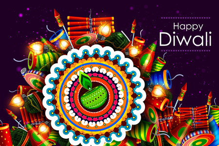 dharma: easy to edit illustration of decorated diya with cracker for Happy Diwali holiday background