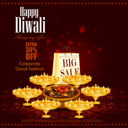 prosper: easy to edit illustration of Happy Diwali shopping sale offer with decorated diya for India festival