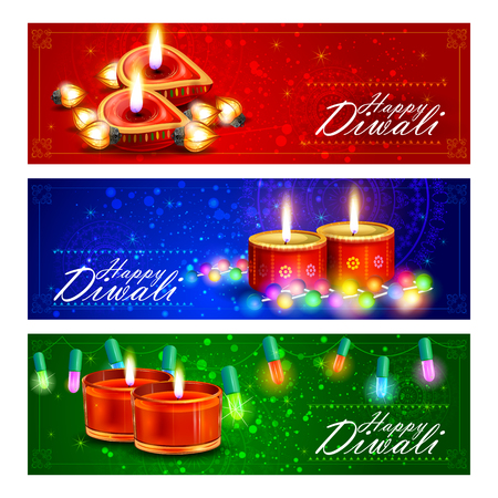 india culture: easy to edit illustration of decorated diya for Happy Diwali holiday background Illustration