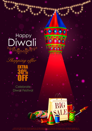 prosper: easy to edit illustration of Happy Diwali shopping sale offer with hanging lamp and fire cracker for India festival Illustration