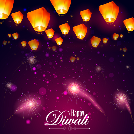 easy to edit illustration of floating lamp and firework in Diwali holiday night Vectores