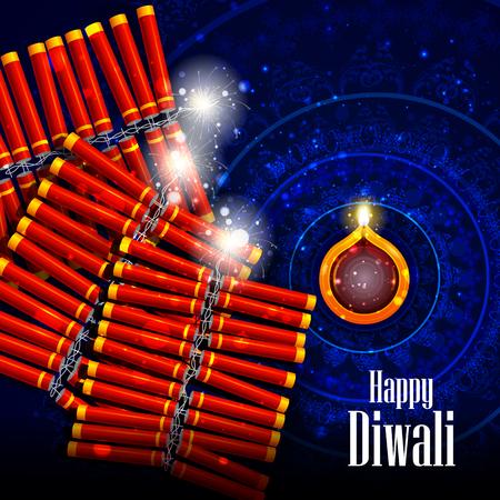 diya: easy to edit illustration of decorated diya with cracker for Happy Diwali holiday background