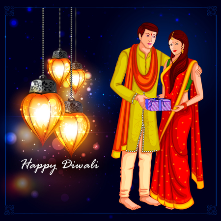 easy to edit illustration of people with gift for Happy Diwali holiday background