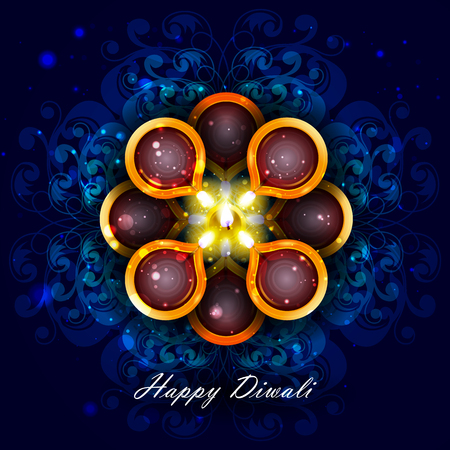 easy to edit illustration of decorated diya for Happy Diwali holiday background Illustration