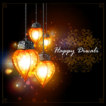 easy to edit illustration of decorated hanging light for Happy Diwali holiday background