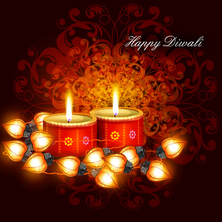 easy to edit illustration of decorated diya with tuni bulb for Happy Diwali background Illustration