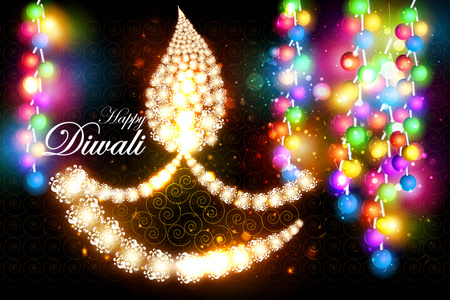dharma: easy to edit illustration of decorated diya with tuni bulb for Happy Diwali background Illustration
