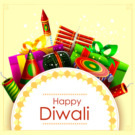 fire cracker: easy to edit illustration of fire cracker with gift for Happy Diwali holiday background Illustration