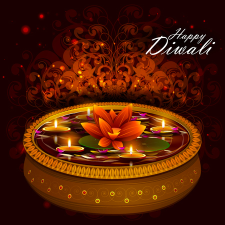 dipawali: easy to edit illustration of decorated diya for Happy Diwali holiday background Illustration