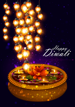 india culture: easy to edit illustration of decorated diya with tuni bulb for Happy Diwali background Illustration