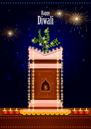 tulsi: easy to edit illustration of decorated Tulsi plant with diya for Happy Diwali background