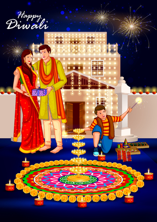 easy to edit illustration of people celebrating Happy Diwali holiday India background Illustration