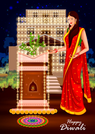 tulsi: easy to edit illustration of Indian lady with decorated hanging light for Happy Diwali holiday India background