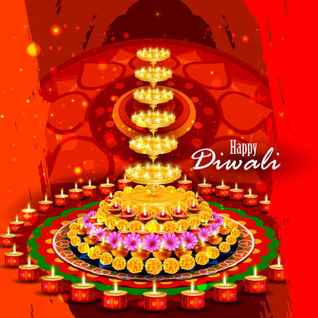 pookolam: easy to edit illustration of decorated diya for Happy Diwali background