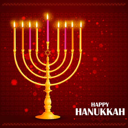 illustration of Happy Hanukkah for Israel Festival of Lights celebration Illustration