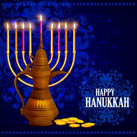 easy to edit illustration of Happy Hanukkah for Israel Festival of Lights celebration