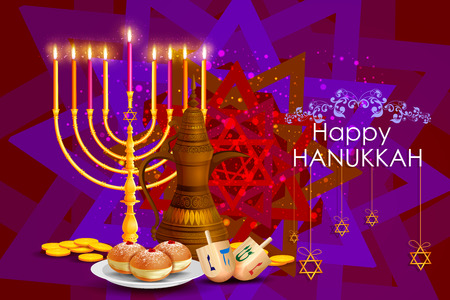sukkoth festival: easy to edit illustration of Happy Hanukkah for Israel Festival of Lights celebration
