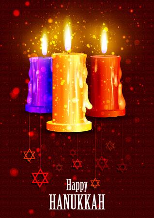 festival of lights: easy to edit illustration of Happy Hanukkah for Israel Festival of Lights celebration