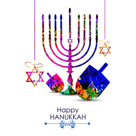 candelabrum: easy to edit illustration of Happy Hanukkah for Israel Festival of Lights celebration