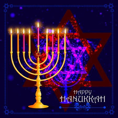 chanukiah: easy to edit illustration of Happy Hanukkah for Israel Festival of Lights celebration