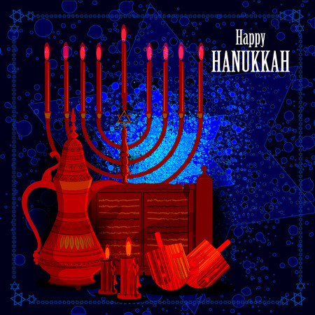 easy to edit illustration of Happy Hanukkah for Israel Festival of Lights celebration