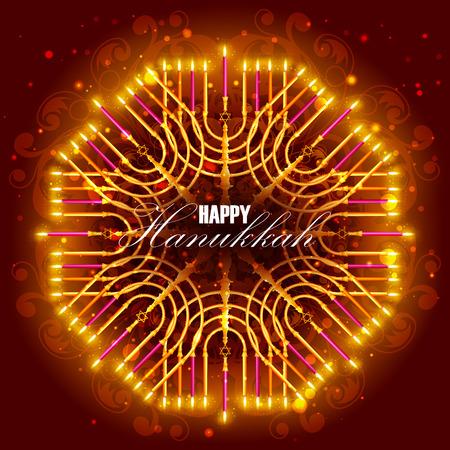 sukkoth: easy to edit illustration of Happy Hanukkah for Israel Festival of Lights celebration