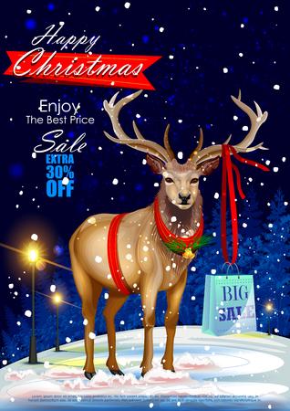 facile à modifier illustration vectorielle de vente Joyeux Noël et la promotion de l'offre bannière