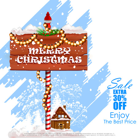 easy to edit vector illustration of Merry Christmas Sale and Promotion offer banner Illustration