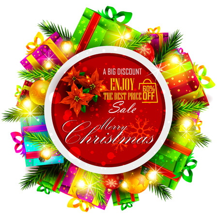 christmas backgrounds: easy to edit vector illustration of Merry Christmas Sale and Promotion offer banner Illustration