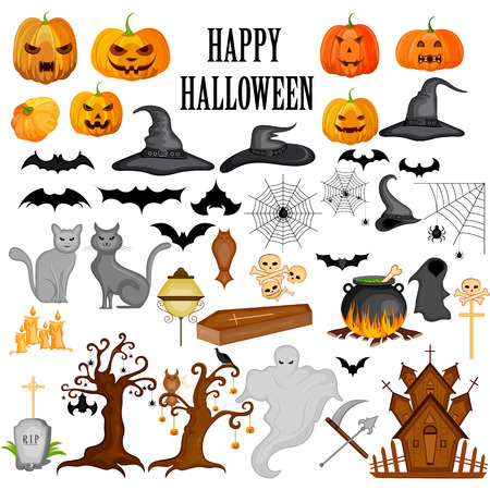easy to edit vector illustration of Happy Halloween scary object Illustration