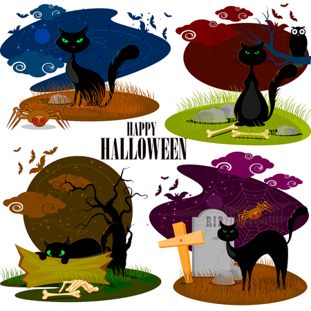 easy to edit vector illustration of black cat in Halloween background
